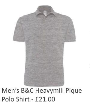 Mens B&C Heavymill Pique Polo Shirt