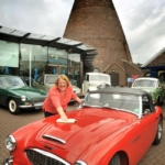 Red House Glass Cone's Sarah Hall buffs up an Austin Healey 3000 ready for Black Country Classic Car Club's weekend show